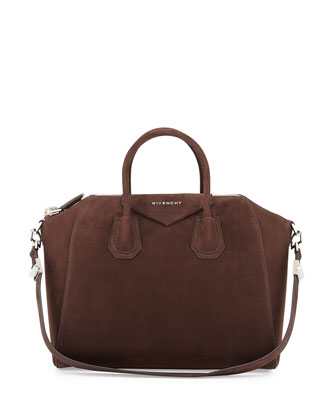 Antigona Medium Nubuck Satchel Bag, Chocolate