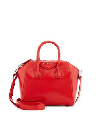 Antigona Mini Glazed Leather Satchel Bag, Red