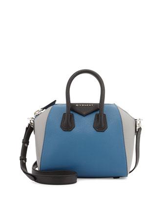 Antigona Mini Sugar Leather Satchel Bag, Blue/Multi