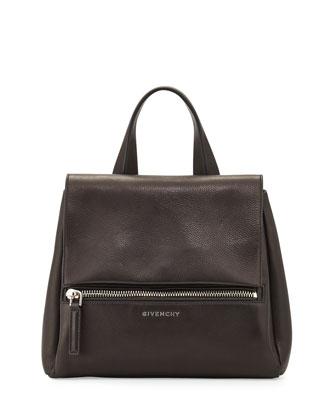 Pandora Small Waxy Flap Satchel Bag, Black