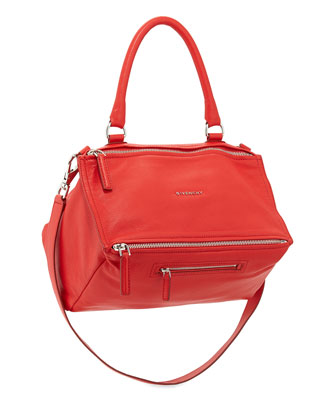 Pandora Medium Sugar Leather Satchel Bag, Red