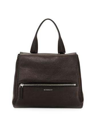 Pandora Medium Waxy Flap Satchel Bag, Black