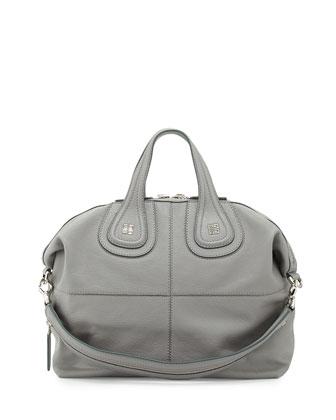 Nightingale Medium Kidskin Satchel Bag, Gray