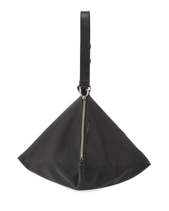 Large Pyramid Calfskin Shoulder Bag, Black