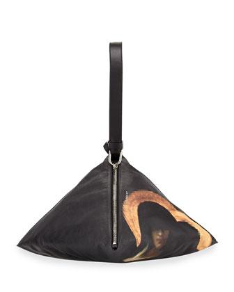 Madonna-Print Large Pyramid Shoulder Bag