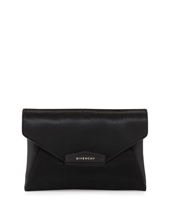 Antigona Medium Calf Hair Clutch Bag, Black