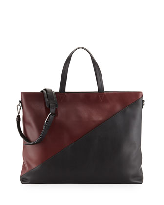Infinite Colorblock Leather Satchel Bag, Burgundy