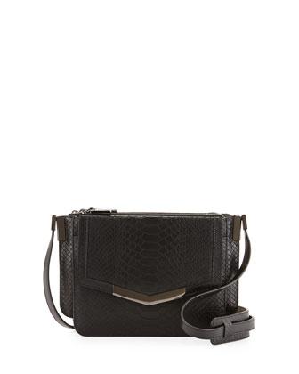 Trilogy Mini Snake-Embossed Crossbody Bag, Black