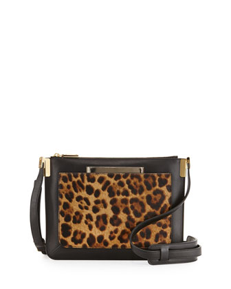 Ishi Small Crossbody Bag with Leopard-Print Calf Hair