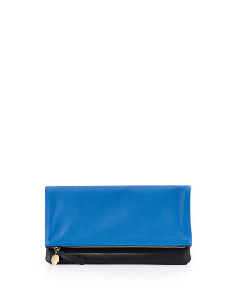 Two-Tone Fold-Over Clutch Bag, Blue Pattern