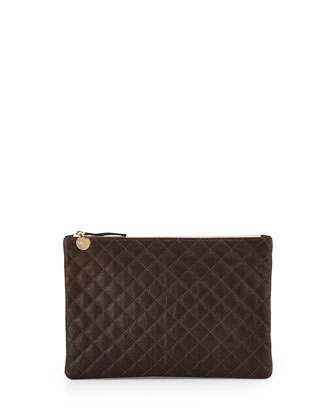 Quilted Leather Zip Clutch Bag, Olive