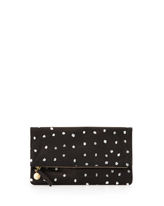 Printed Fold-Over Clutch Bag, Black Pattern