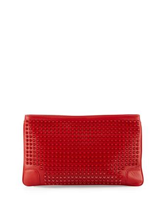 Loubiposh Studded Clutch Bag, Red