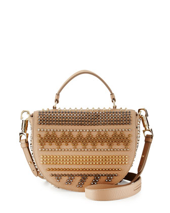 Panettone Spiked Chevron Messenger Bag, Beige