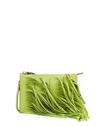 Fringe Leather Zip Crossbody Bag, Lime