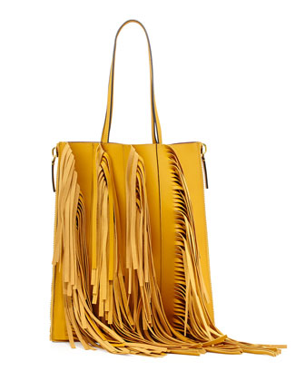 Fringe Leather Shopping Tote Bag, Gold
