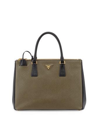 Saffiano Lux Bicolor Double-Zip Tote Bag, Olive/Black