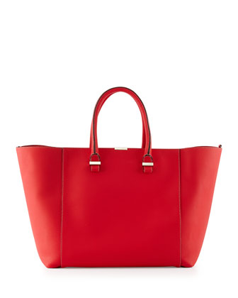 Liberty Leather Tote Bag, Pompom Red