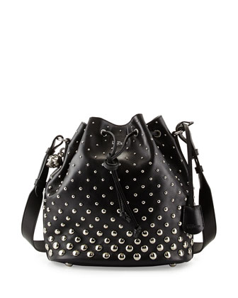 Padlock Studded Bucket Bag, Black