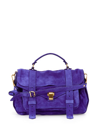 PS1 Medium Suede Satchel Bag, Royal