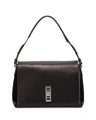 Elliot Suede/Calfskin Shoulder Bag, Black