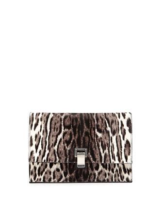 Small Lunch Cheetah-Print Calf Hair Clutch Bag