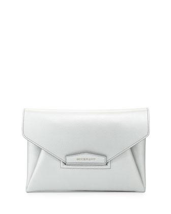 Antigona Medium Metallic Leather Clutch Bag, Gray