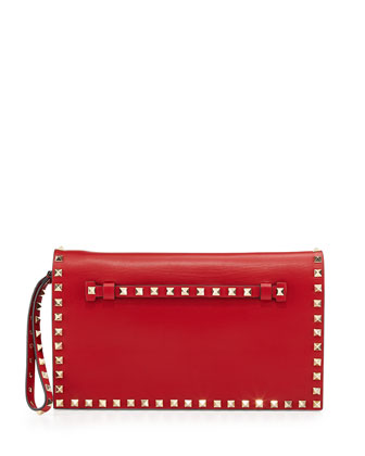 Rockstud Flap Wristlet Clutch Bag, Red