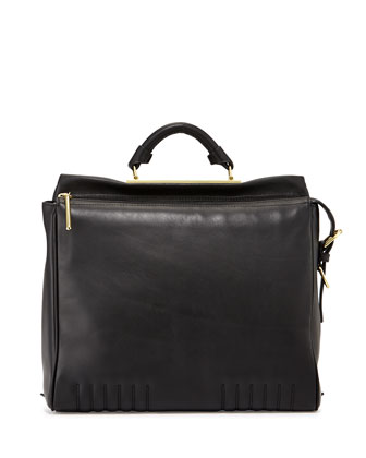 Ryder Leather Satchel Bag, Black