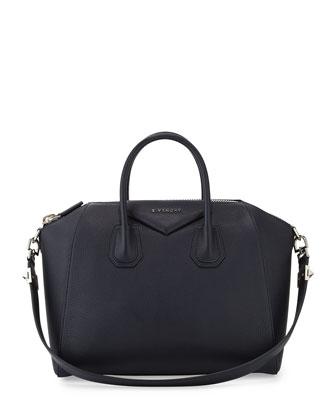 Antigona Medium Sugar Satchel Bag, Navy