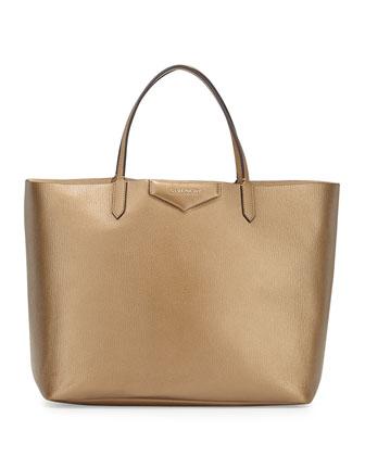 Antigona Large Metallic Shopper Bag, Gold