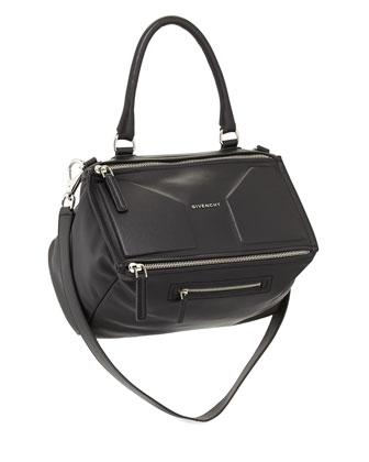Pandora 3D Medium Leather Satchel Bag, Black