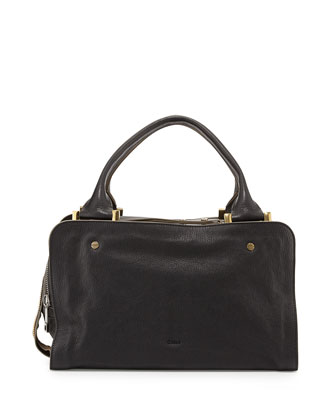 Dalston Triple-Zip Leather Satchel Bag, Black