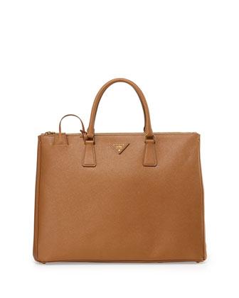 Saffiano Double-Handle Tote Bag, Tan