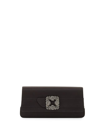 Gothisi Crystal-Buckle Satin Clutch, Black
