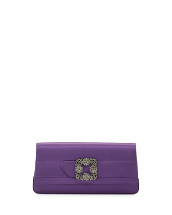 Gothisi Crystal-Buckle Satin Clutch Bag, Purple