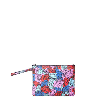 Bowery Floral-Print Leather Pochette, Multicolor