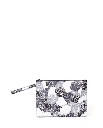 Bowery Floral-Print Leather Pochette, Black/White