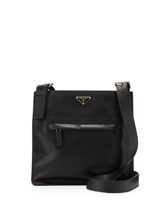 Soft Calfskin Messenger Bag, Black (Nero)