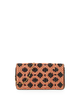 Sun-Jacquard Floral-Beaded Clutch, Rust