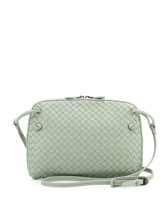 Small Pillow Woven Crossbody Bag, Light Green