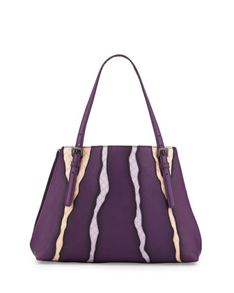 Woven-Inset Leather Tote Bag, Purple