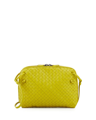 Small Leather Pillow Crossbody Bag, Chartreuse