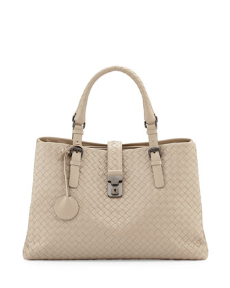 Roma Triple-Compartment Woven Leather Tote Bag, Sand