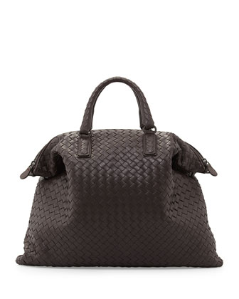Convertible Woven Tote Bag, Brown