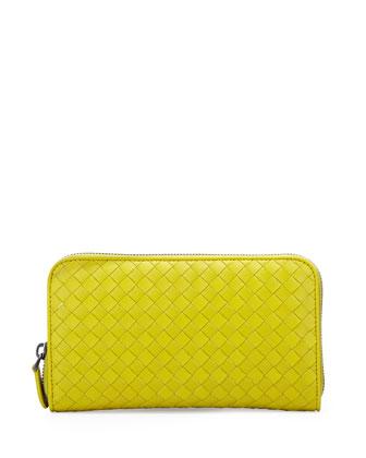 Intrecciato Leather Zip-Around Wallet, Chartreuse