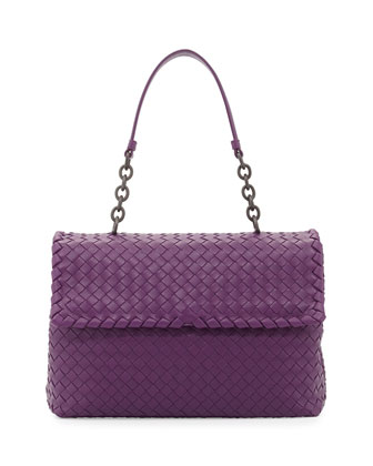 Olimpia Medium Leather Intrecciato Shoulder Bag, Purple