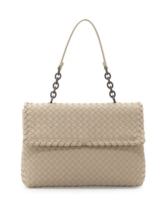 Olimpia Medium Leather Intrecciato Shoulder Bag, Sand