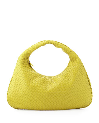 Veneta Large Woven Hobo Bag, Chartreuse