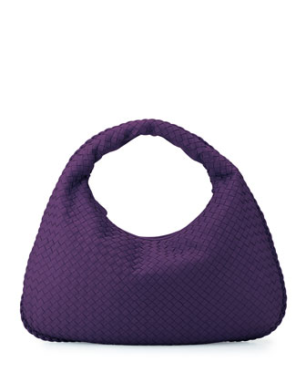 Veneta Large Woven Hobo Bag, Purple